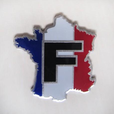 آرم فلزی برجسته نقشه فرانسه