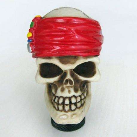 سر دنده اسکلت با دستمال سر قرمز